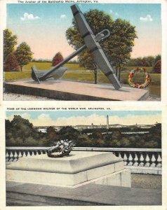 ARLINGTON, VA Virginia TOMB UNKNOWN SOLDIER~BATTLESHIP MAINE ANCHOR  c1920's TWO