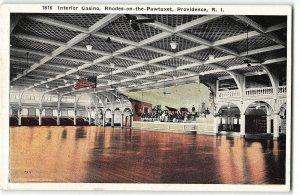 Interior Casino, Rhodes-On-the-Pawtuxet, Providence, Rhode Island 1924 Postcard