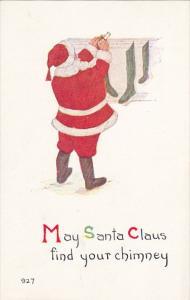 Christmas Santa Claus Red Robe Filling Stockings