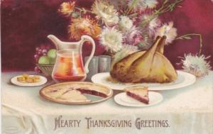 Thanksgiving Table Setting With Turkey and Pie