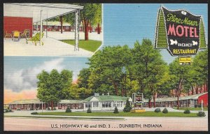Pine Manor Motel Dunreith Indiana Unused c1940s