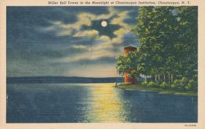 Miller Bell Tower in Moonlight - Chautauqua Lake NY, New York - Linen