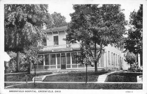 Greenfield Ohio~Greenfield Hospital~1942 B&W Postcard