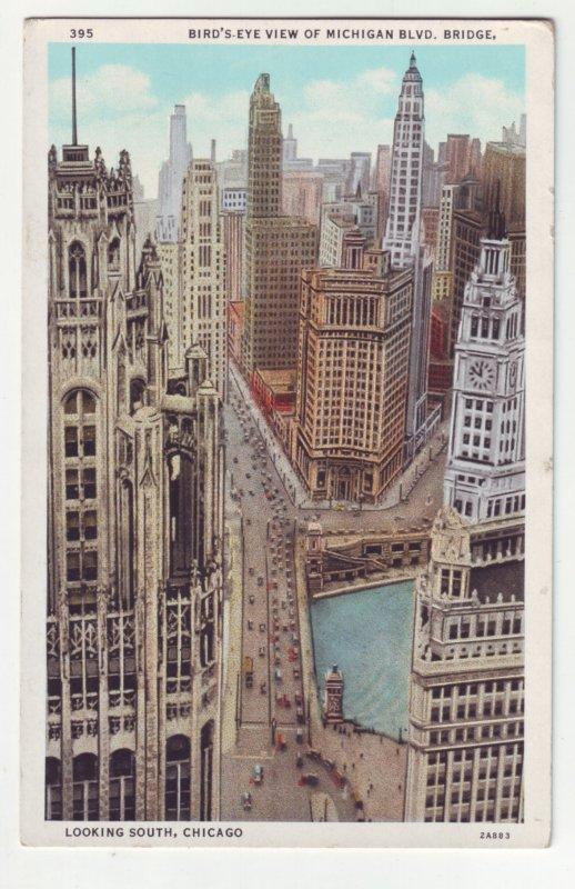 P1213 old unused postcard birds eye street view michigan blvd chicago