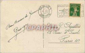 Old Postcard Rade Geneva and Mont Blanc