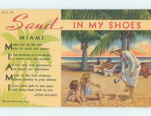 Linen BEACH SCENE Miami Florida FL AE9517