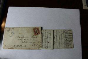 1868 Hand Written Letter with 1861-62 Scott #25 3 Cent Washington Stamp