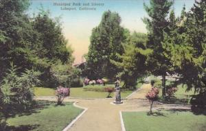 California Lakeport Municipal Park And Library Handcolored Albertype