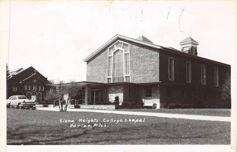 B38/ Adrian Michigan Mi Photo RPPC Postcard c50s Sienna Heights College Chapel