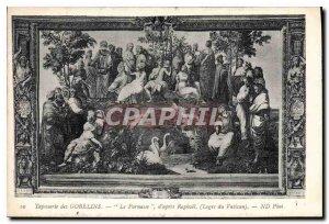 Postcard Old Gobelins tapestry after Raphael The Parnassus of the Vatican Lodges