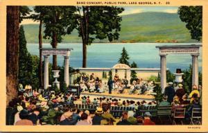 New York Lake George Public Park Band Concert 1941 Curteich