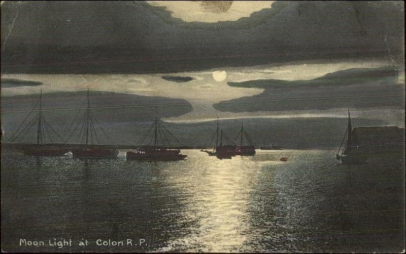 Colon Panama Moonlight on Water & Boats c1910 Postcard