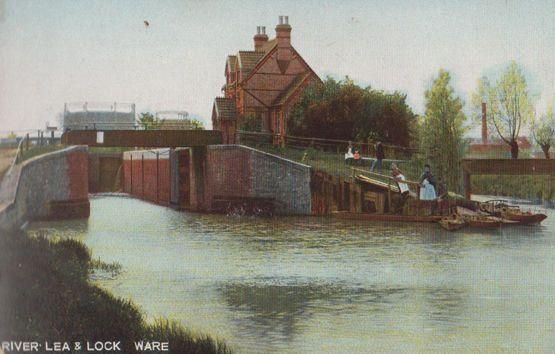 Fisherman at River Lea & Lock Ware Fishing Antique Hertfordshire Postcard