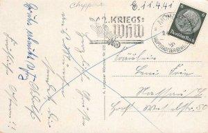 Grüß aus München 1941 Nazi Germany Swastika Postmark Kriegs WHW Vintage Postcard