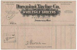 1920 Billhead, DOWNING TAYLOR CO., Wholesale Grocers, Springfield, Massachusetts