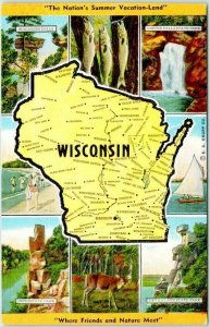 1940s WISCONSIN State Map / Multi-View Postcard 8 Vacationland Scenes Linen