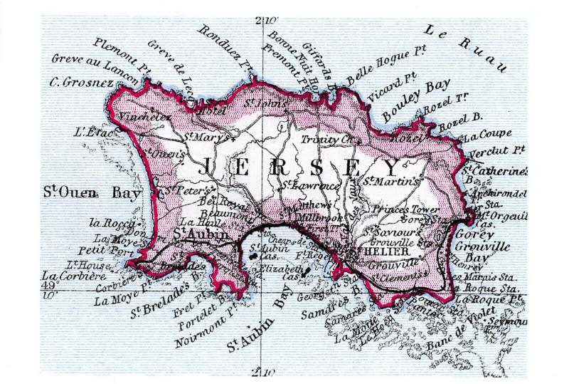 Vintage reproduction JERSEY Map Card Postcard 89Q