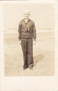 Military Sailor Posing In Uniform Real Photo