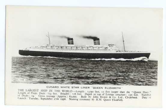 RPPC Cunard White Star Liner Queen Elizabeth