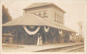 G11/ Westminster Maryland RPPC Postcard 1921 Patriotic Railroad Depot