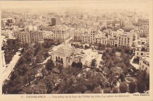 Morocco Casablanca Vue prise de la tour de l'Hotel de Ville Le palais de General