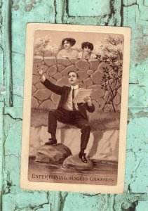 Entertaining Angels Unawares Antique Postcard, Sepia, Used ca. 1910, Embossed