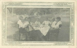 Postcard RPPC Sunday Supper In The Yard