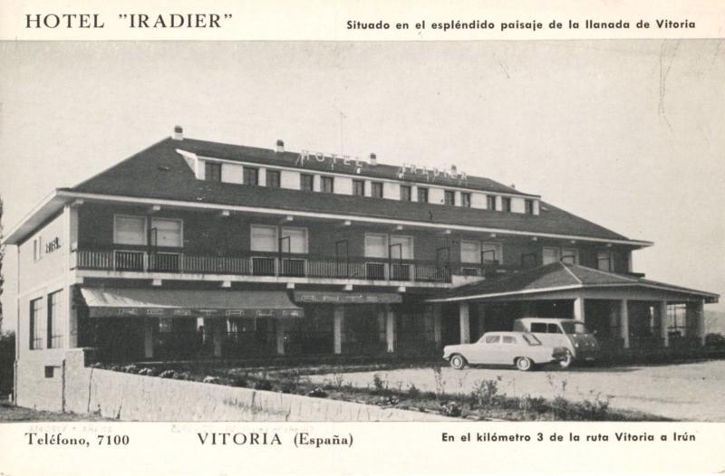 Hotel Iradier Vitoria Spain Espana Hotels Old Cars Unused Vintage Postcard D21