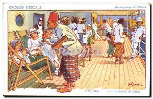 Sketch D & # 39Escale- Fantasy- Bateau Illustration Colombo-Sri Lanka Maritim...