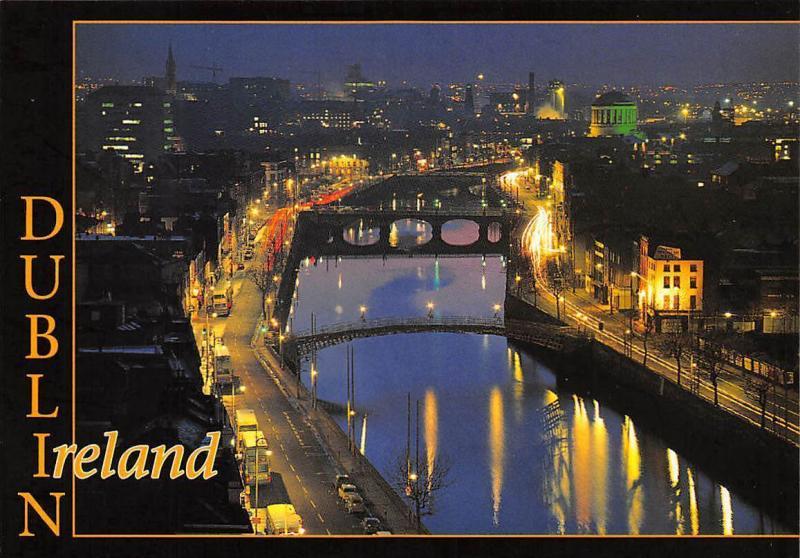Ireland Dublin at night, nuit nacht, river, panorama