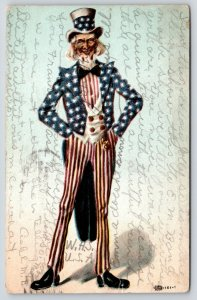 Patriotic Uncle Sam~Red Striped Pants~Blue Star Coat~Watertown NY WHS List~1909