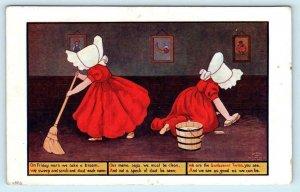 SUNBONNET TWINS Girls FRIDAY MORN We Take a Broom Ullman 1907  Postcard