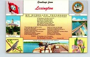 Greeting Lexington My Homeland Tennessee Song Cotton Souvenir Vintage Postcard