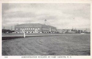 U.S. Marines, Admin. Bldg. at Camp LeJeune, N.C., World War II Era Postcard