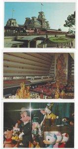 3 Disney World Postcards Mickey Mouse Revu Steam Railroad Grand Canyon Concourse