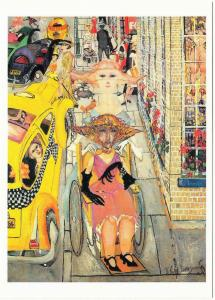 Dowager in a Wheelchair by Philip Evergood American Art New York City Postcard