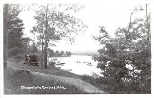 C43/ Gaylord Michigan Mi Real Photo RPPC Postcard c40s Otsego Lake Boats Bench22