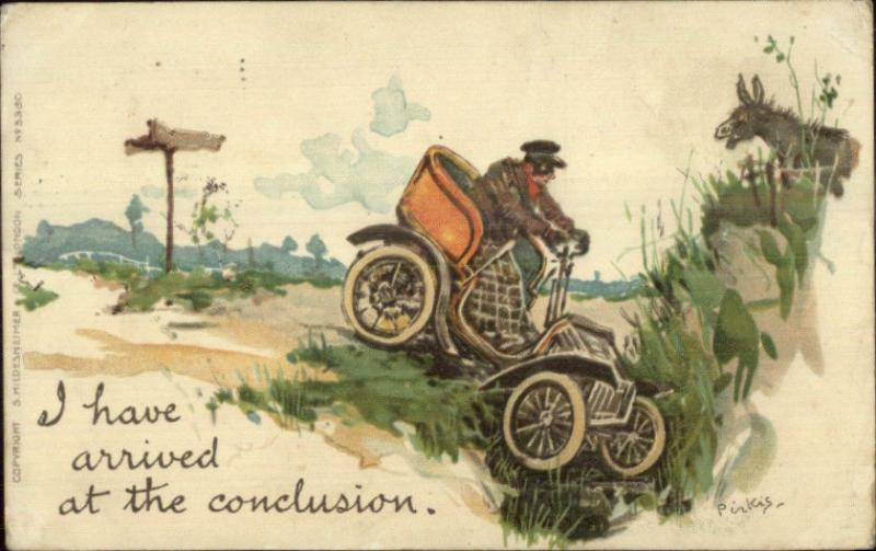Auto Car Humor Crashing in Ditch Hildesheimer & Co London #5360 Postcard