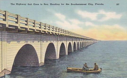 Fishing Along The Bridge On The Highway That Goes To Sea Heading For Key West...