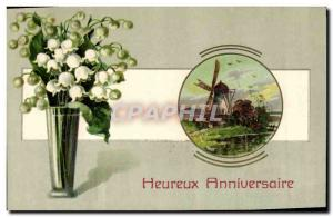 Old Postcard Fantasy Flowers Lily of the valley Windmill