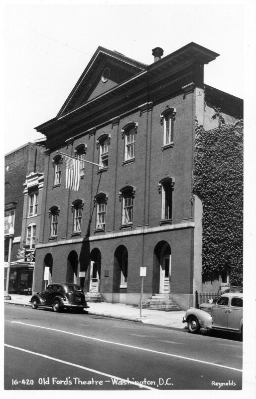 1950s Old Fords Theatre Building Old Cars Washington DC RPPC Real Photo Postcard