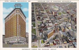 Indiana Indianapolis Hotel Lincoln and Aeroplane View Of Downtown