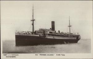 Steamship SS Prinses Juliana c1910 Real Photo Postcard CR HOFFMANN