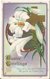 Easter Lilies Cross Traditional Easter Greeting 1911 Published by LSC Easter