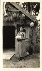hawaii, Native Hula Girl with Coral (1930s) Real Photo
