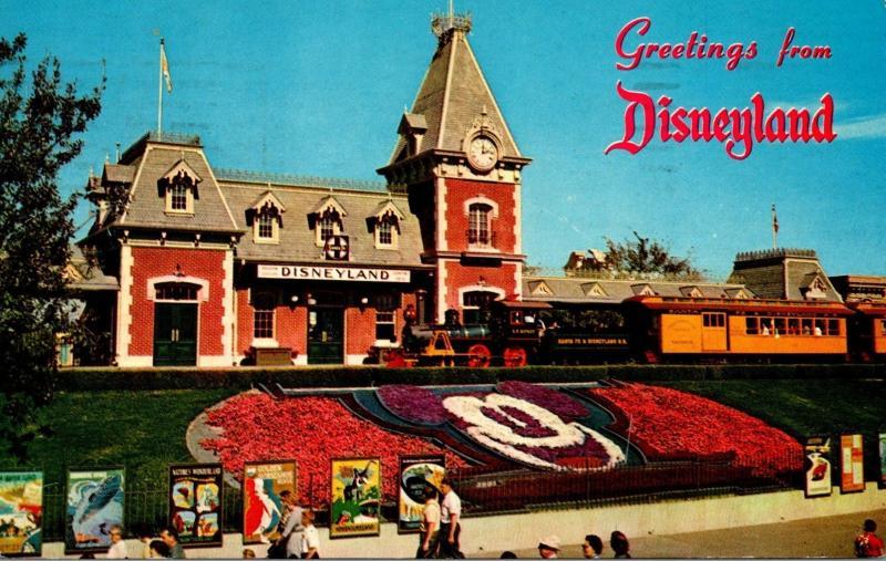 Disneyland Greetings Showing Santa Fe and Disneyland Depot 1964