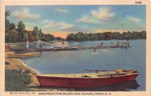 DERRY NH~BEAVER LAKE PAVILION~BOAT~CANOE~SLIDE~DOCK POSTCARD 1940s