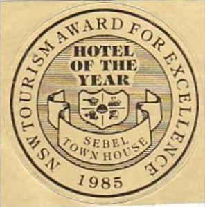 AUSTRALIA SYDNEY SEBEL TOWN HOUSE HOTEL VINTAGE LUGGAGE LABEL