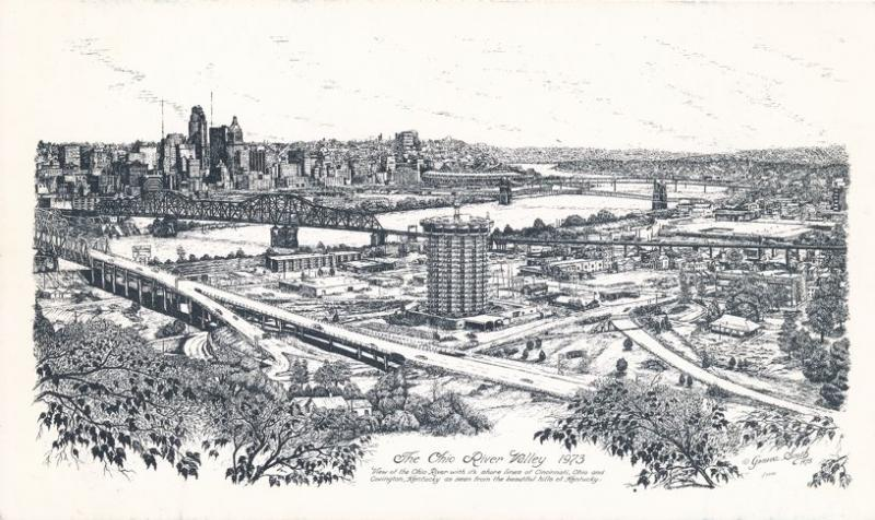Ohio River Valley at Cincinnati in 1973 - Drawing from Hills of Kentucky