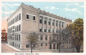 High School, Charlestown, Massachusetts, Early Postcard, Unused